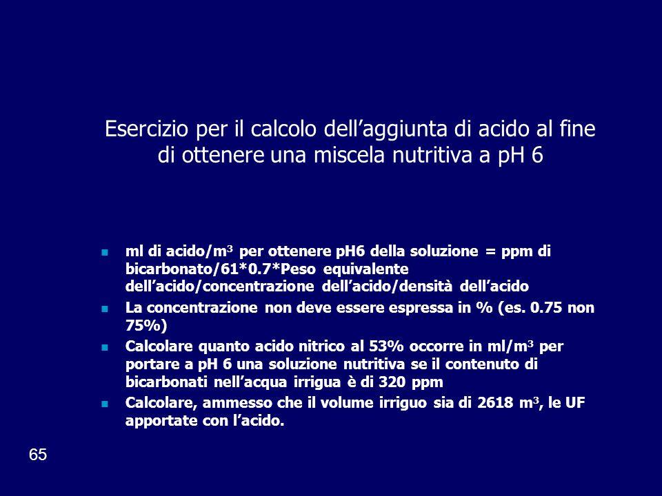 65 Esercizio per il calcolo dellaggiunta di acido al fine di ottenere una miscela nutritiva a pH 6 ml di acido/m 3 per ottenere pH6 della soluzione = ppm di bicarbonato/61*0.7*Peso equivalente dellacido/concentrazione dellacido/densità dellacido La concentrazione non deve essere espressa in % (es.