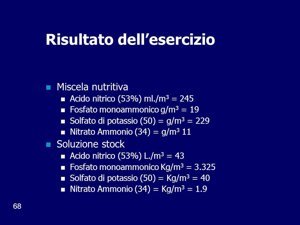 68 Risultato dellesercizio Miscela nutritiva Acido nitrico (53%) ml./m 3 = 245 Fosfato monoammonico g/m 3 = 19 Solfato di potassio (50) = g/m 3 = 229 Nitrato Ammonio (34) = g/m 3 11 Soluzione stock Acido nitrico (53%) L./m 3 = 43 Fosfato monoammonico Kg/m 3 = 3.325 Solfato di potassio (50) = Kg/m 3 = 40 Nitrato Ammonio (34) = Kg/m 3 = 1.9