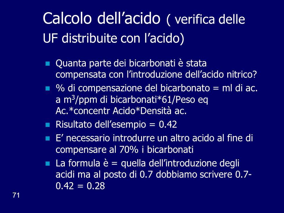 71 Calcolo dellacido ( verifica delle UF distribuite con lacido) Quanta parte dei bicarbonati è stata compensata con lintroduzione dellacido nitrico.