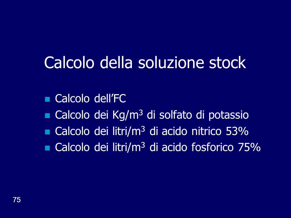 75 Calcolo della soluzione stock Calcolo dellFC Calcolo dei Kg/m 3 di solfato di potassio Calcolo dei litri/m 3 di acido nitrico 53% Calcolo dei litri/m 3 di acido fosforico 75%