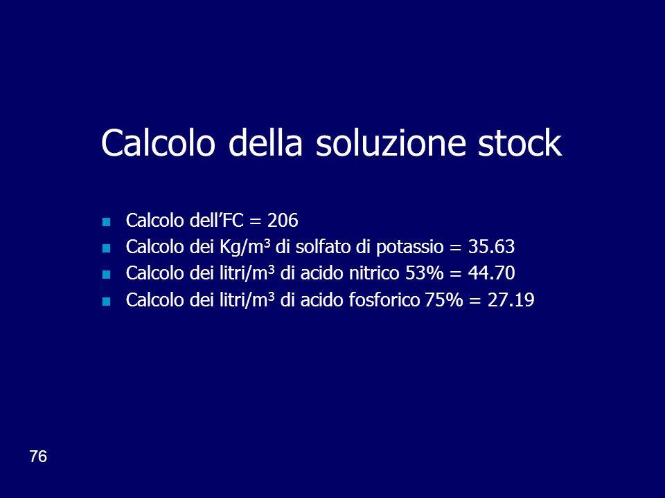 76 Calcolo della soluzione stock Calcolo dellFC = 206 Calcolo dei Kg/m 3 di solfato di potassio = 35.63 Calcolo dei litri/m 3 di acido nitrico 53% = 44.70 Calcolo dei litri/m 3 di acido fosforico 75% = 27.19