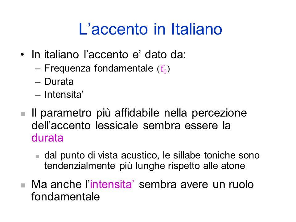 Accento intensivo Laccento rende prominente una sillaba in una parola (o una frase). In alcune lingue laccento puo servire a differenziare voci lessic