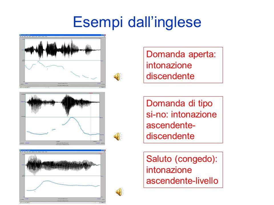 Usi dellIntonazione Lintonazione viene solitamente usata per: –La struttura informativa del testo, data dalle variazioni di F0 in combinazione con la