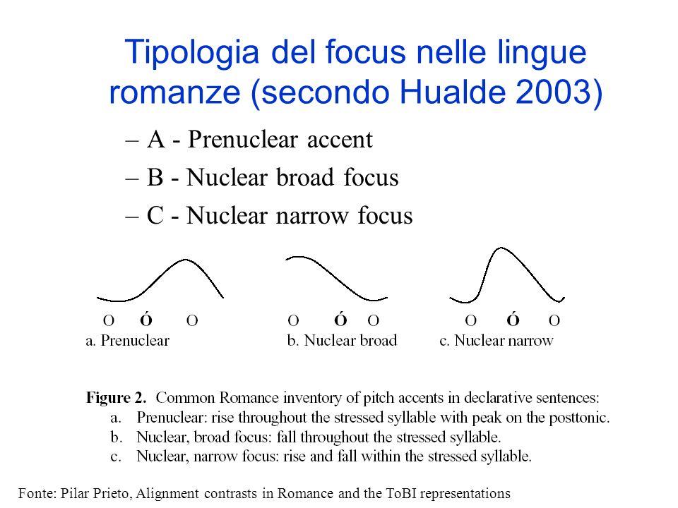 Il Focus in Italiano Nelle lingue romanze, dove non ce un ordine fisso dei costituenti della frase, sono possibili variazioni grammaticalmente equival