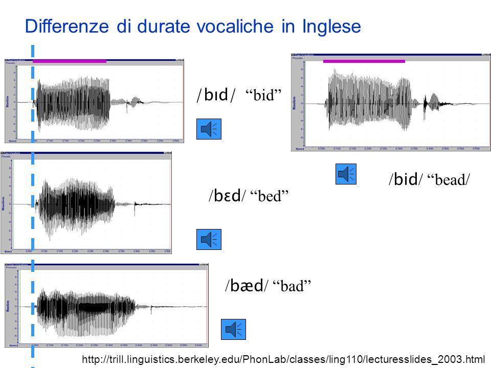 Durata La durata dei suoni viene usata linguisticamente per distinzioni lessicali. –In tutte le lingue la durata rappresenta almeno uno dei tratti usa