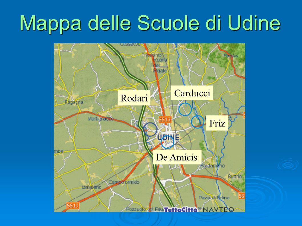 Mappa delle Scuole di Udine Carducci Rodari De Amicis Friz