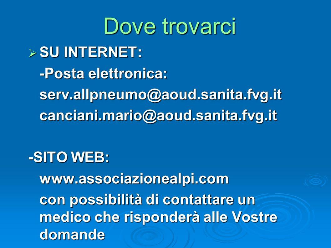 Dove trovarci SU INTERNET: SU INTERNET: -Posta elettronica: serv.allpneumo@aoud.sanita.fvg.itcanciani.mario@aoud.sanita.fvg.it -SITO WEB: www.associaz