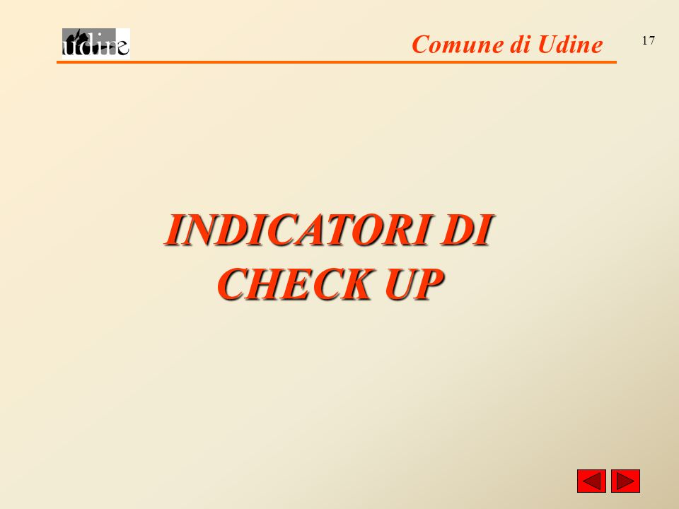 Comune di Udine 17 INDICATORI DI CHECK UP