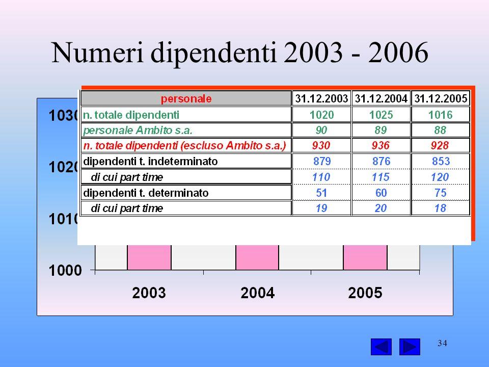 34 Numeri dipendenti 2003 - 2006