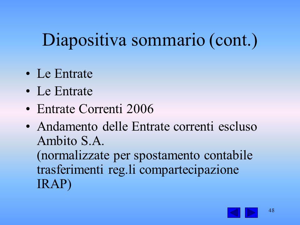 48 Diapositiva sommario (cont.) Le Entrate Entrate Correnti 2006 Andamento delle Entrate correnti escluso Ambito S.A.