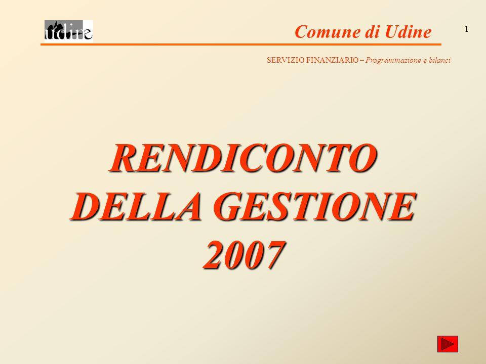 Comune di Udine 1 RENDICONTO DELLA GESTIONE 2007 SERVIZIO FINANZIARIO – Programmazione e bilanci