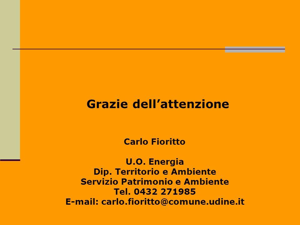 Carlo Fioritto U.O. Energia Dip. Territorio e Ambiente Servizio Patrimonio e Ambiente Tel. 0432 271985 E-mail: carlo.fioritto@comune.udine.it Grazie d