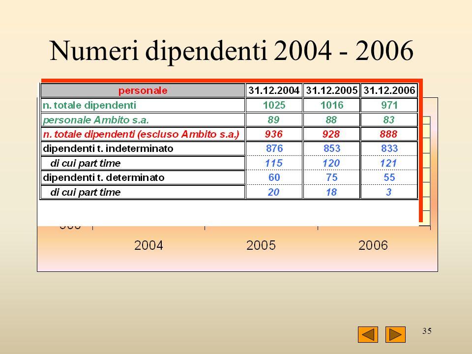 35 Numeri dipendenti 2004 - 2006