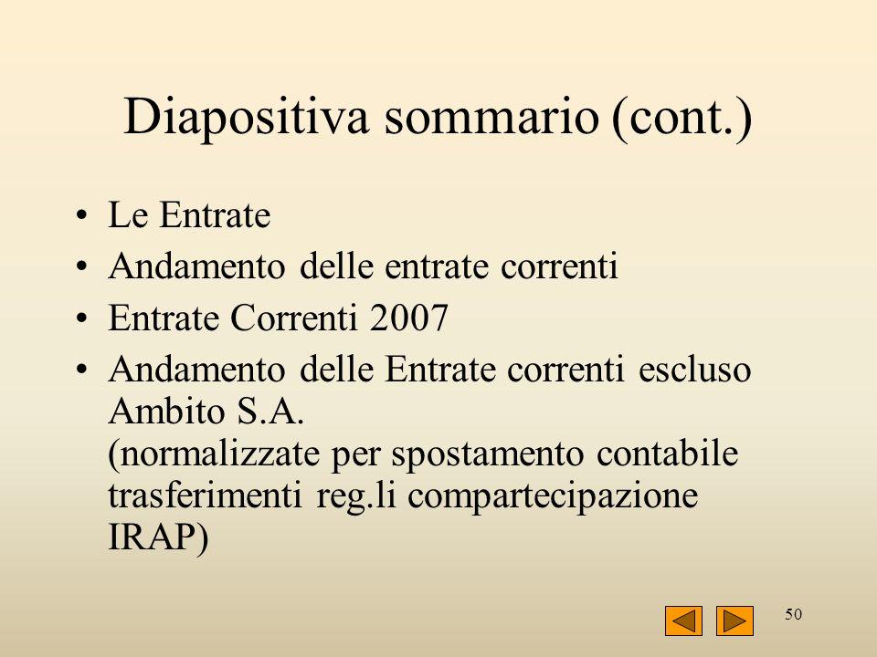 50 Diapositiva sommario (cont.) Le Entrate Andamento delle entrate correnti Entrate Correnti 2007 Andamento delle Entrate correnti escluso Ambito S.A.