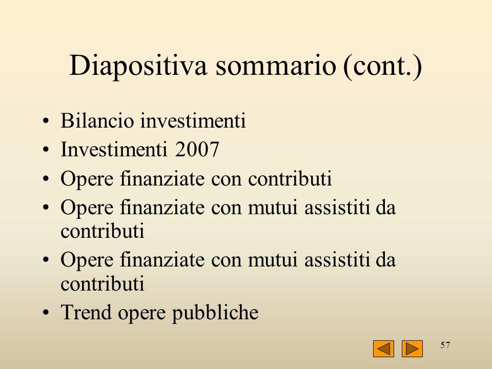 57 Diapositiva sommario (cont.) Bilancio investimenti Investimenti 2007 Opere finanziate con contributi Opere finanziate con mutui assistiti da contri