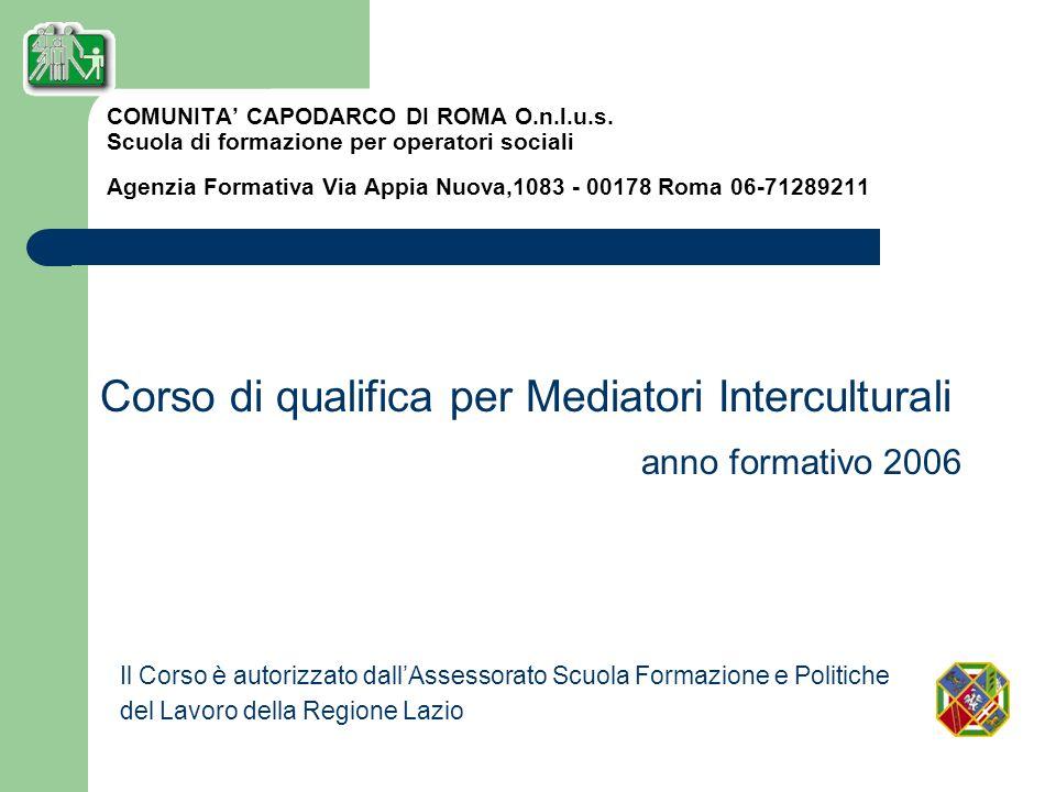 COMUNITA CAPODARCO DI ROMA O.n.l.u.s. Scuola di formazione per operatori sociali Agenzia Formativa Via Appia Nuova,1083 - 00178 Roma 06-71289211 Corso