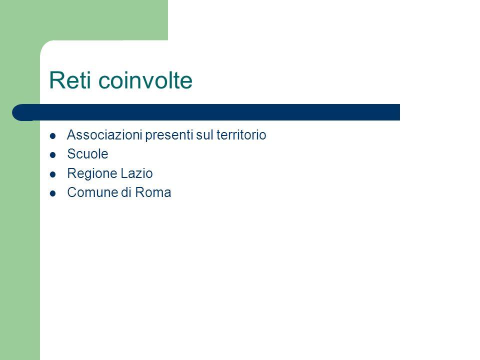 Reti coinvolte Associazioni presenti sul territorio Scuole Regione Lazio Comune di Roma
