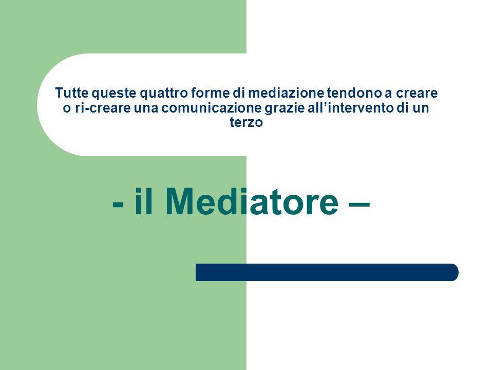 Tutte queste quattro forme di mediazione tendono a creare o ri-creare una comunicazione grazie allintervento di un terzo - il Mediatore –