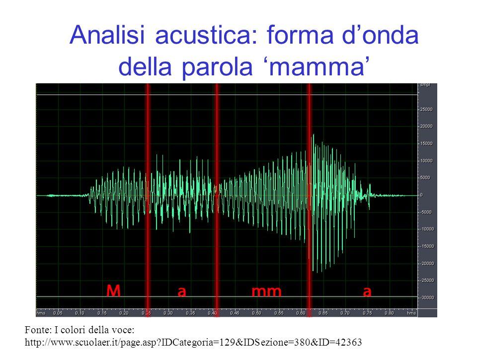 Analisi acustica: forma donda della parola mamma Fonte: I colori della voce: http://www.scuolaer.it/page.asp?IDCategoria=129&IDSezione=380&ID=42363