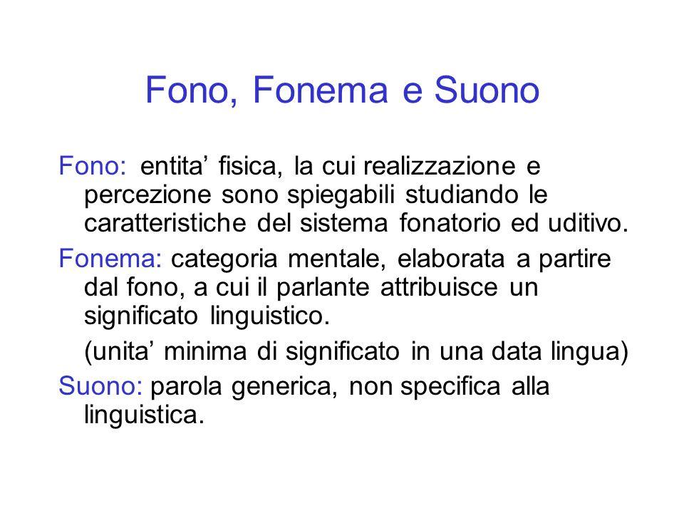 Fono, Fonema e Suono Fono: entita fisica, la cui realizzazione e percezione sono spiegabili studiando le caratteristiche del sistema fonatorio ed udit