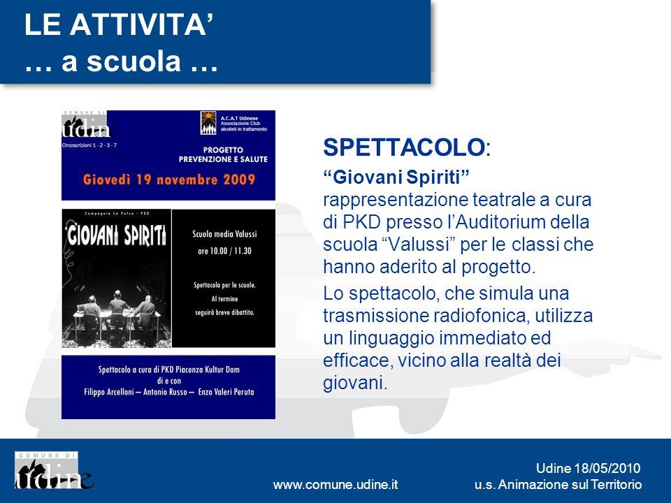 u.s. Animazione sul Territorio Udine 18/05/2010 www.comune.udine.it LE ATTIVITA … a scuola … SPETTACOLO: Giovani Spiriti rappresentazione teatrale a c