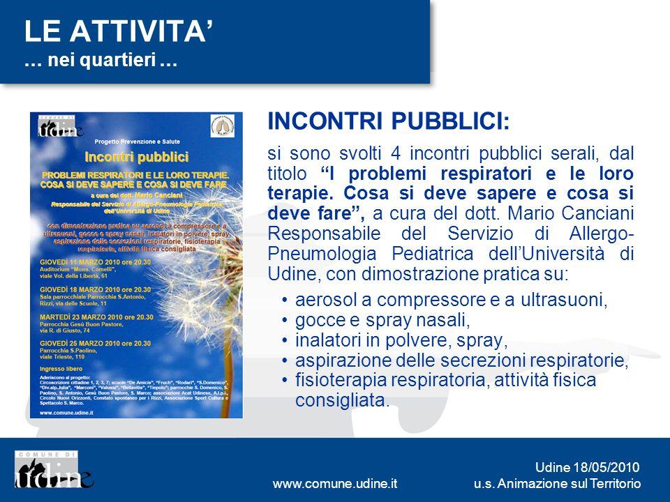u.s. Animazione sul Territorio Udine 18/05/2010 www.comune.udine.it LE ATTIVITA … nei quartieri … INCONTRI PUBBLICI: si sono svolti 4 incontri pubblic
