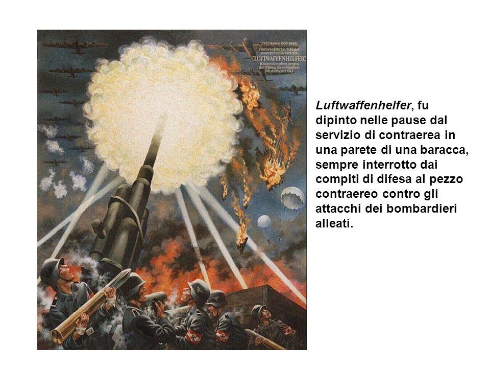 Luftwaffenhelfer, fu dipinto nelle pause dal servizio di contraerea in una parete di una baracca, sempre interrotto dai compiti di difesa al pezzo con