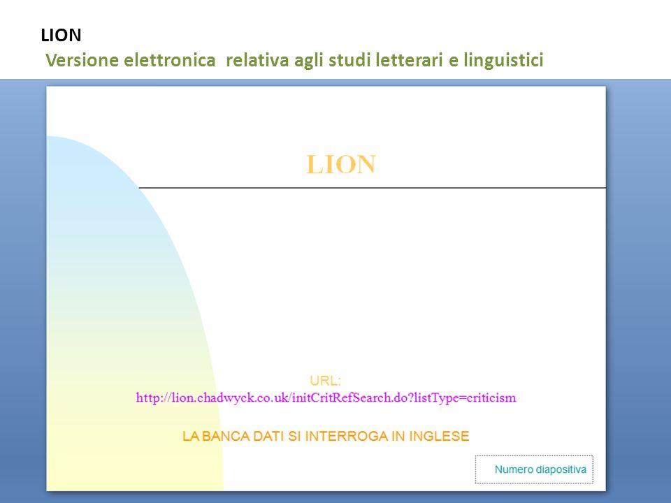 15 LION Versione elettronica relativa agli studi letterari e linguistici