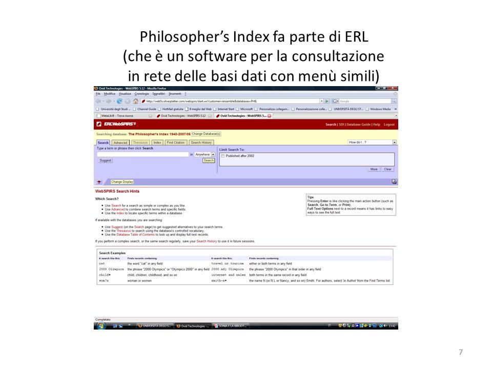 7 Philosophers Index fa parte di ERL (che è un software per la consultazione in rete delle basi dati con menù simili) 7