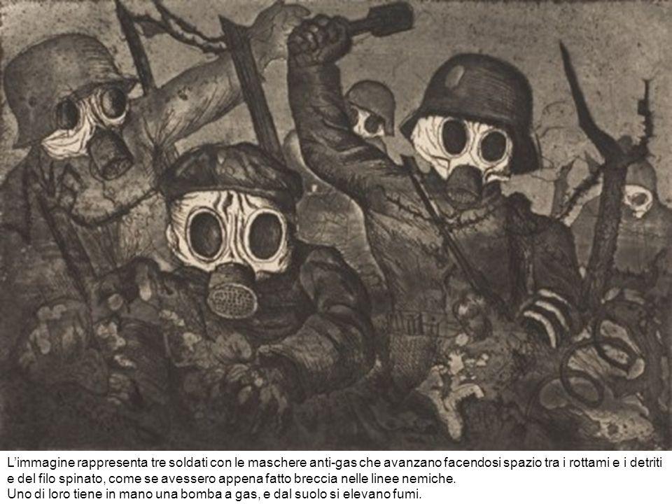 Limmagine rappresenta tre soldati con le maschere anti-gas che avanzano facendosi spazio tra i rottami e i detriti e del filo spinato, come se avesser