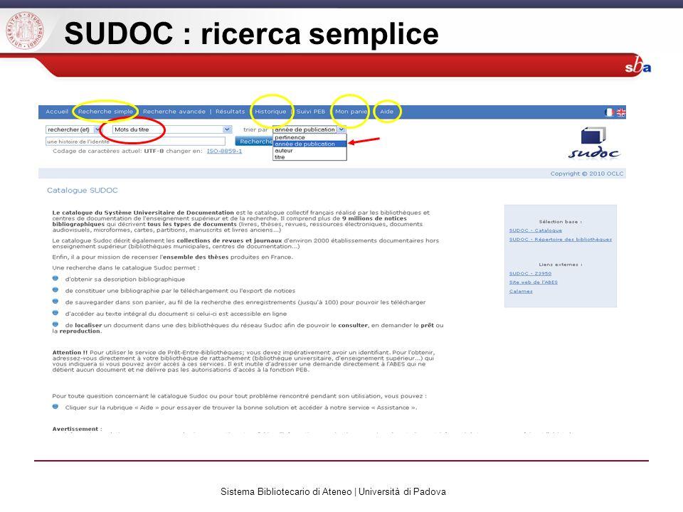Sistema Bibliotecario di Ateneo | Università di Padova SUDOC : ricerca semplice
