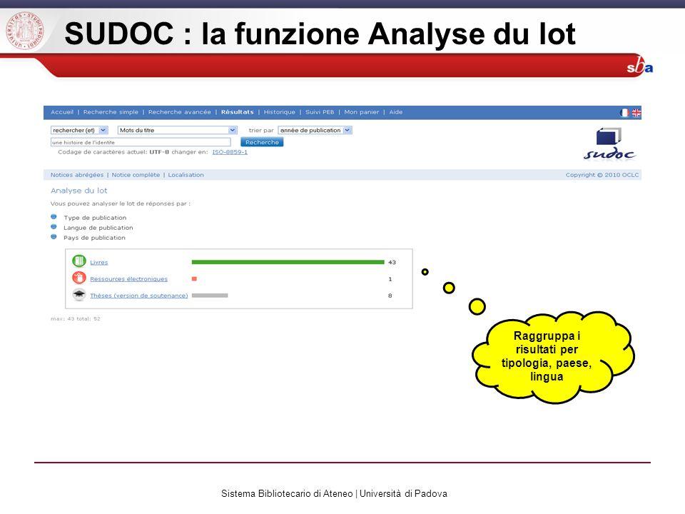 Sistema Bibliotecario di Ateneo | Università di Padova SUDOC : la funzione Analyse du lot Raggruppa i risultati per tipologia, paese, lingua
