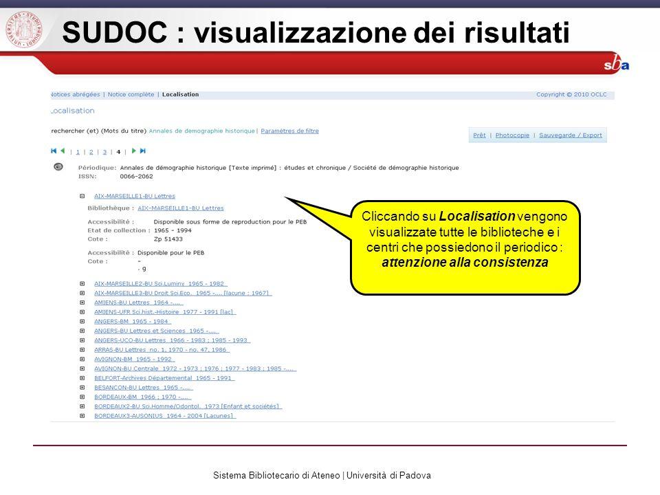 Sistema Bibliotecario di Ateneo | Università di Padova SUDOC : visualizzazione dei risultati Cliccando su Localisation vengono visualizzate tutte le biblioteche e i centri che possiedono il periodico : attenzione alla consistenza