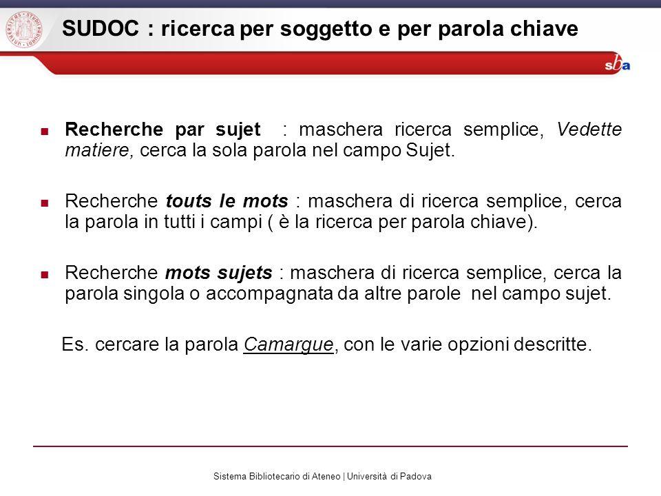 Sistema Bibliotecario di Ateneo | Università di Padova SUDOC : ricerca per soggetto e per parola chiave Recherche par sujet : maschera ricerca semplice, Vedette matiere, cerca la sola parola nel campo Sujet.
