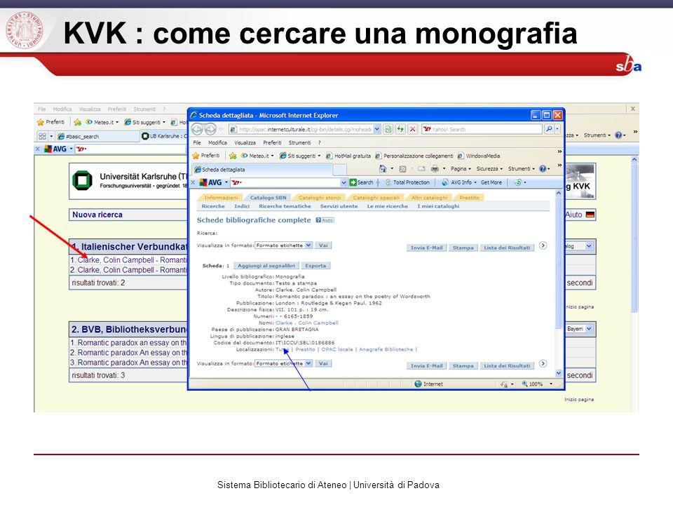 Sistema Bibliotecario di Ateneo | Università di Padova KVK : come cercare una monografia