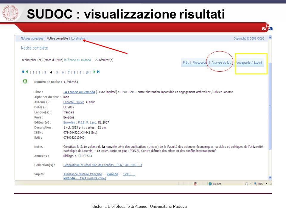 Sistema Bibliotecario di Ateneo | Università di Padova SUDOC : visualizzazione risultati