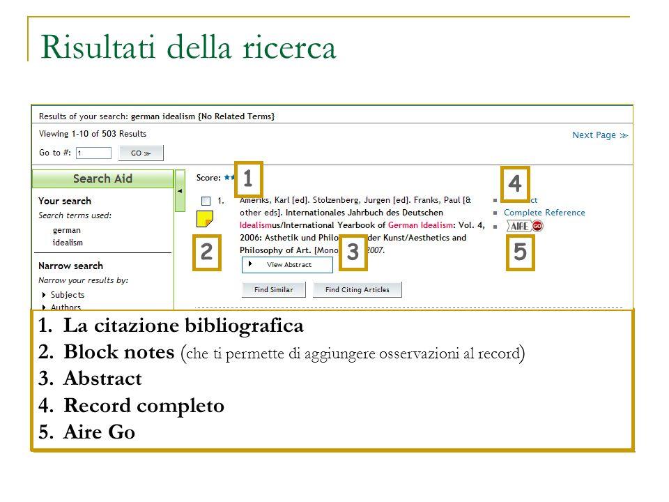 Risultati della ricerca 1.La citazione bibliografica 2.Block notes ( che ti permette di aggiungere osservazioni al record ) 3.Abstract 4.Record comple