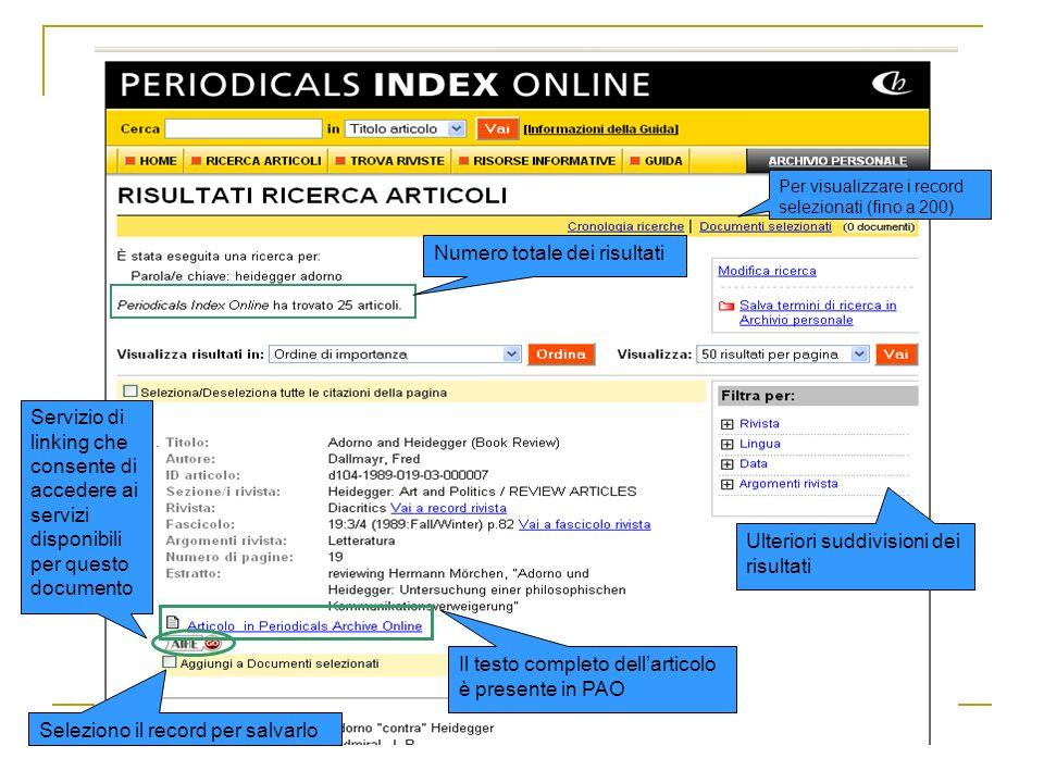 Numero totale dei risultati Il testo completo dellarticolo è presente in PAO Servizio di linking che consente di accedere ai servizi disponibili per q