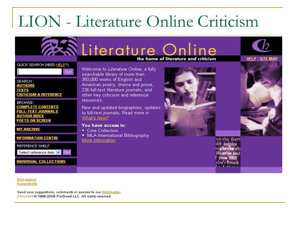 LION - Literature Online Criticism