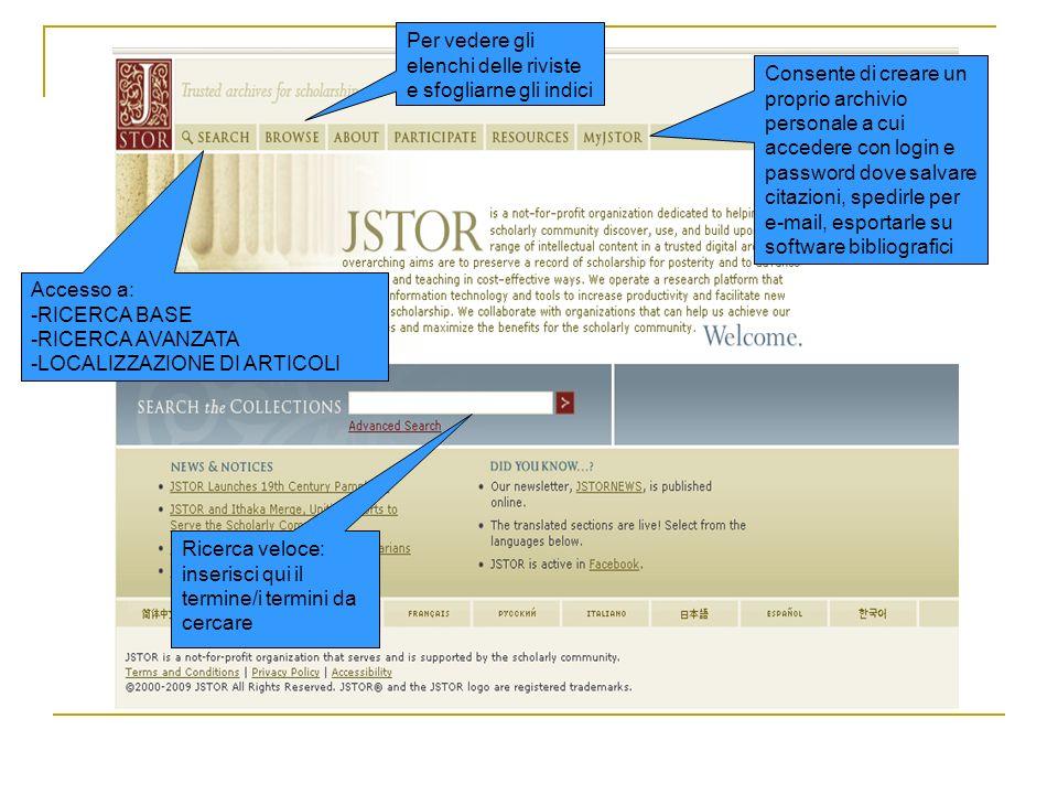 Ricerca veloce: inserisci qui il termine/i termini da cercare Consente di creare un proprio archivio personale a cui accedere con login e password dov