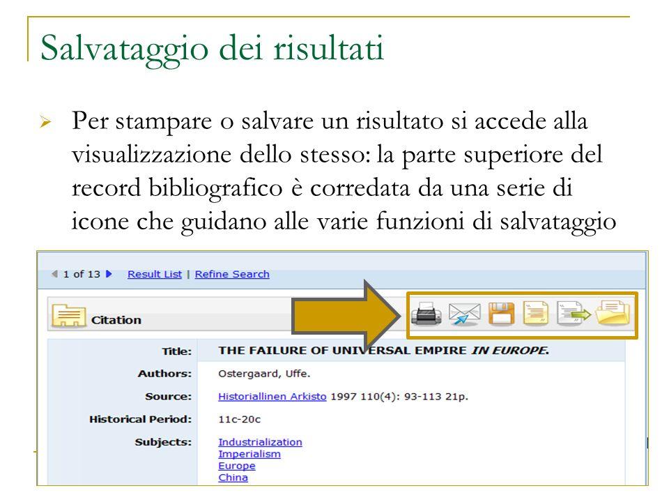 Salvataggio dei risultati Per stampare o salvare un risultato si accede alla visualizzazione dello stesso: la parte superiore del record bibliografico