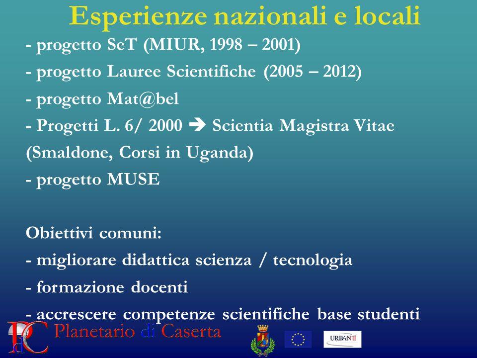 Esperienze nazionali e locali - progetto SeT (MIUR, 1998 – 2001) - progetto Lauree Scientifiche (2005 – 2012) - progetto Mat@bel - Progetti L.