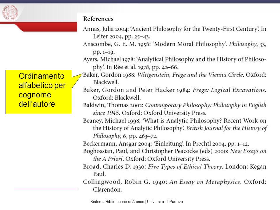 Sistema Bibliotecario di Ateneo | Università di Padova Ordinamento alfabetico per cognome dellautore