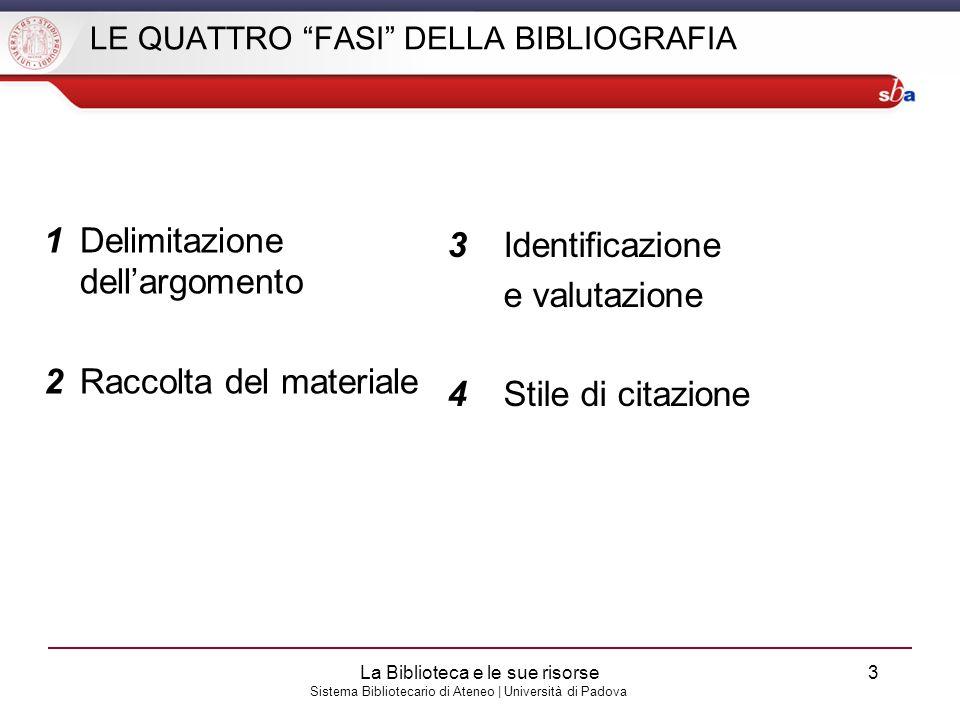 Sistema Bibliotecario di Ateneo | Università di Padova LE QUATTRO FASI DELLA BIBLIOGRAFIA 1Delimitazione dellargomento 2Raccolta del materiale 3Identi