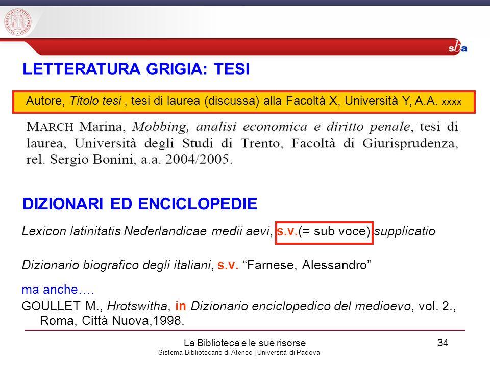 Sistema Bibliotecario di Ateneo | Università di Padova Lexicon latinitatis Nederlandicae medii aevi, s.v.(= sub voce) supplicatio Dizionario biografic
