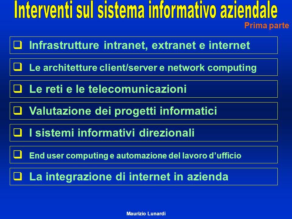 Infrastrutture intranet, extranet e internet Le architetture client/server e network computing Le reti e le telecomunicazioni Valutazione dei progetti