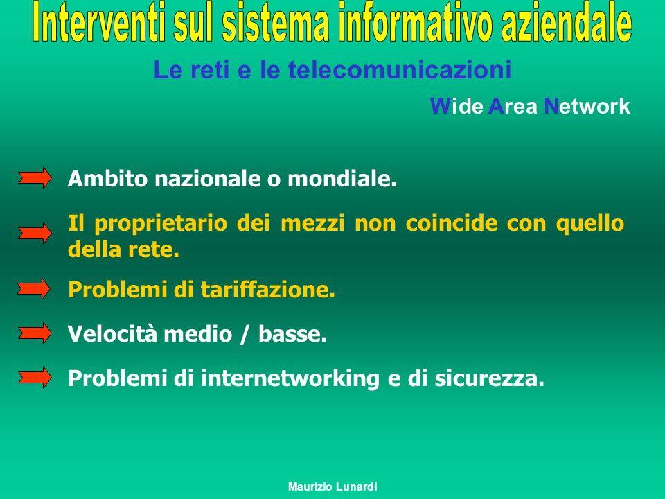Le reti e le telecomunicazioni Wide Area Network Ambito nazionale o mondiale. Il proprietario dei mezzi non coincide con quello della rete. Problemi d