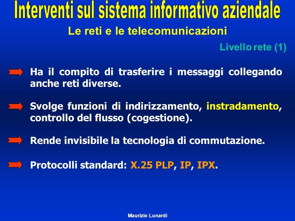 Le reti e le telecomunicazioni Livello rete (1) Ha il compito di trasferire i messaggi collegando anche reti diverse. Svolge funzioni di indirizzament
