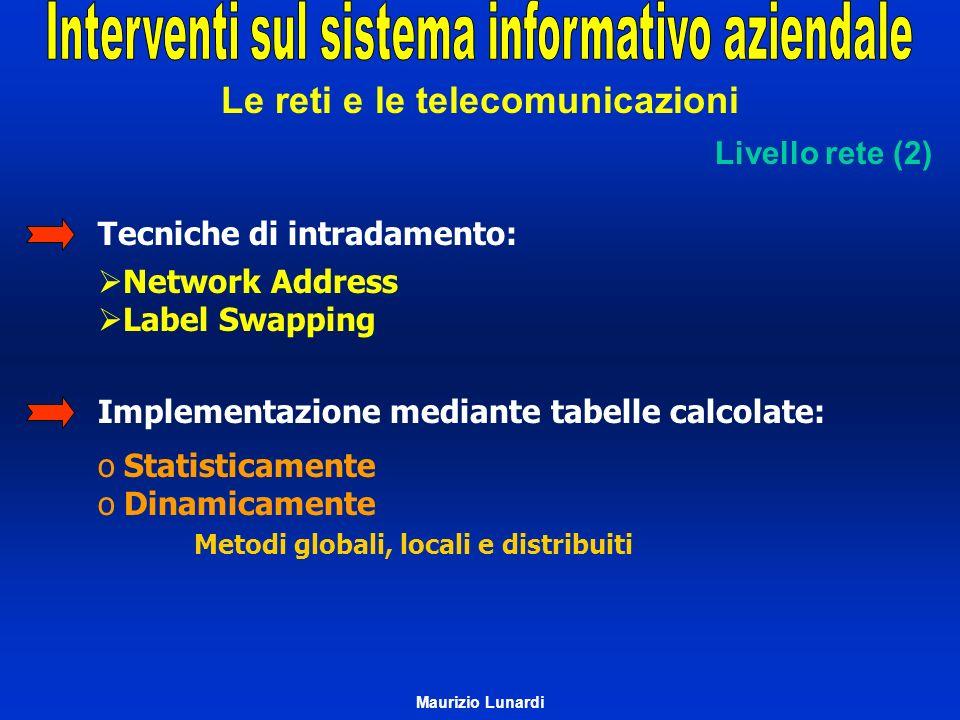 Le reti e le telecomunicazioni Tecniche di intradamento: Implementazione mediante tabelle calcolate: Livello rete (2) Network Address Label Swapping o