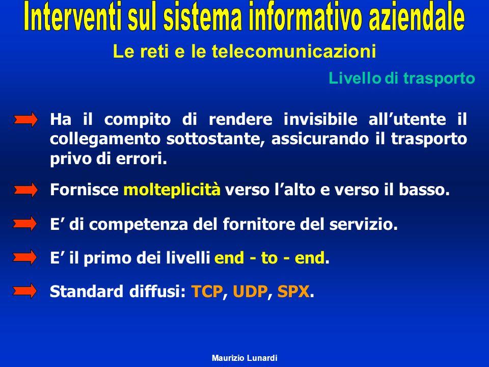 Le reti e le telecomunicazioni Livello di trasporto Ha il compito di rendere invisibile allutente il collegamento sottostante, assicurando il trasport